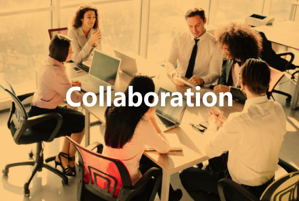 group of six work colleagues on a meeting room table